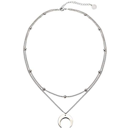 BaubleStar Crescent Moon Pendant Layered Collar Necklace Layering Titanium Chain Choker Silver for Women Girls B137S