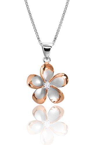 Honolulu Jewelry Company Sterling Silver with 14k Rose Gold Plated Trim CZ Plumeria Pendant Necklace with 18 Box Chain