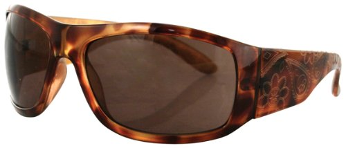 Zan Headgear Highway Honey Vixen Sunglasses Tortoise Shell Frame with Brown Lens and Etched with Gold Paisley EHHV3