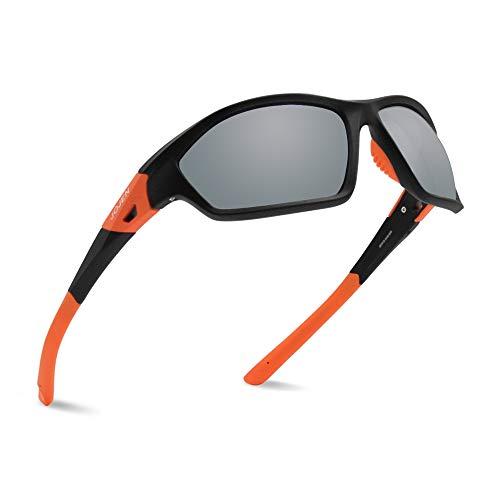 - JOJEN Polarized Sports Sunglasses for Men Women Running Cycling Fishing Hunting Golf Tr90 Ultralight Unbreakable Frame TAC Lens JE008(Black&Orange Frame Grey Lens)