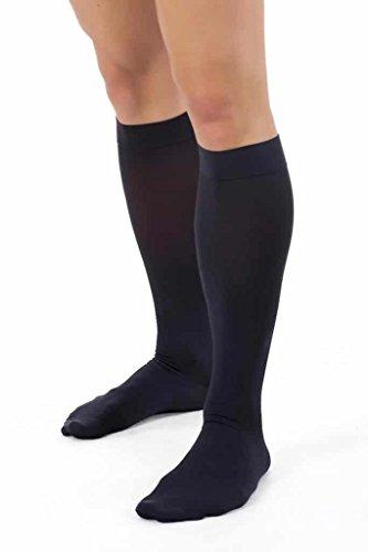 ®BeFit24 Medical Anti-Fatigue Calf Compression Flight Socks for Men (15-21 mmHg, 140 Denier, Class 1) - Travel Support for Swollen Feet and Ankles, DVT, Varicose Veins, Blood Circulation - [ Men`s shoe size: UK 7.5-9 / EU 41-43 - Black ]