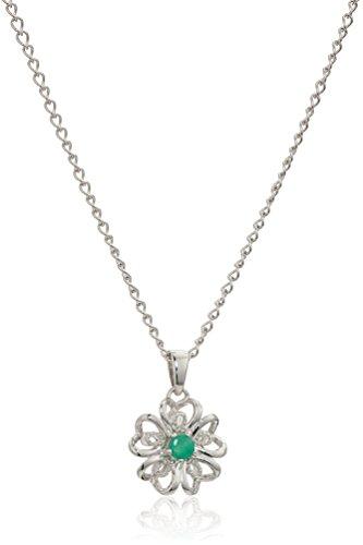 Genuine Emerald Flower (Sterling Silver Genuine Emerald Flower Pendant Necklace, 18