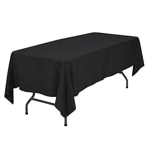 VEEYOO 60 x 102 inch Rectangular Solid Polyester Tablecloth for Wedding Restaurant Party Rectangle/Oblong/Oval Table, Black by VEEYOO