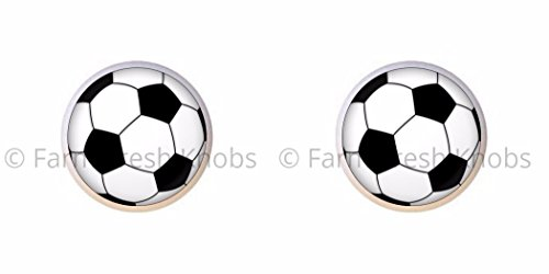 SET OF 2 KNOBS - Soccer Ball - Sports and Recreation - DECORATIVE Glossy CERAMIC Cupboard Cabinet PULLS Dresser Drawer KNOBS