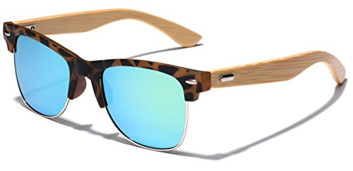 Semi Rimless Classic Bamboo Wood Sunglasses with Color Mirror - Sunglasses Of Out Made Wood