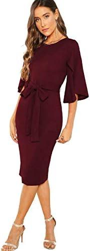 Floerns 여성용 러플 소매 타이 허리 칵테일 파티 바디콘 펜슬 미디 드레스 / Floerns 여성용 러플 소매 타이 허리 칵테일 파티 바디콘 펜슬 미디 드레스