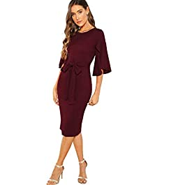 Floerns Women's Ruffle Sleeve Tie Waist Cocktail Party Bodycon Pencil Midi Dress