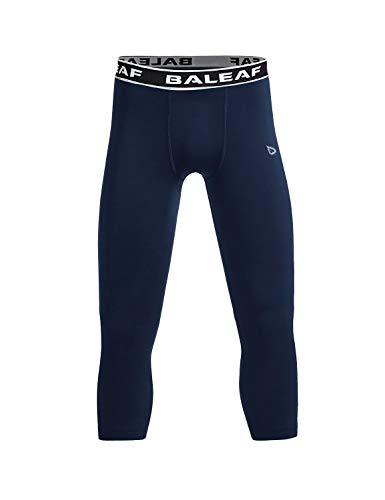 (Baleaf Youth Boys' Compression Pants 3/4 Leggings Soccer Basketball Baselayer Tights Navy Size XL)