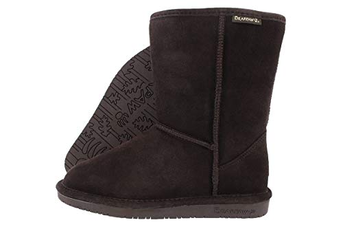 BEARPAW Womens Emma Short 8-Inch Suede Sheepskin Boot, Chocolate II, 7