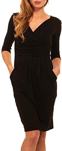 Seranoma Womens Basic V-Neck Sleeve Dress - 3/4 Sleeve Wrap Pencil Dress with Pockets (Large, Black)