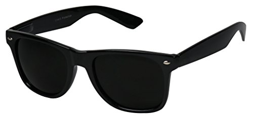 Basik Eyewear - Super Extremely Dark Black Retro Round Classic 80's Sunglasses 1 or 2 Pairs (Glossy 2 Pack Deal, Dark Black)