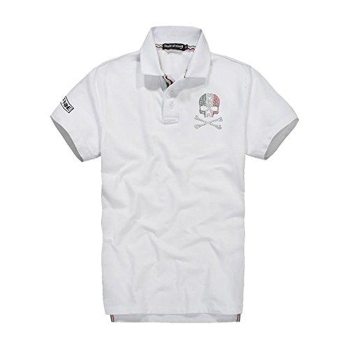 (スカルシリーズ) ポロシャツ スカル ドクロ SKULL 半袖 鹿の子 ゴルフウェア ラインストーン バックプリント XZY1401SL