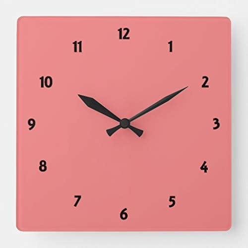 Amazon Com Tattyakoushi 15 By 15 Inch Wall Clock Light Coral Square Wall Clock Living Room Clock Home Decor Clock Home Kitchen