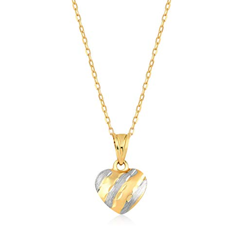 Gelin 14k Yellow Gold Double-Sided Heart Pendant Chain Necklace for Women, 18