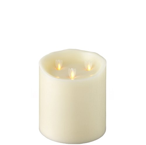 Large Liown Flameless Candle: Tri-flame, 3 Wick, Unscented Moving Flame Candle with Timer (6'' Ivory) by Liown