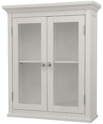 Kitchen Classique (Classique Elegant Wood Wall Cabinet (White), Two Glass Doors, Shelf, Bathroom, Kitchen, Toiletries Medicine Storage by Classique)