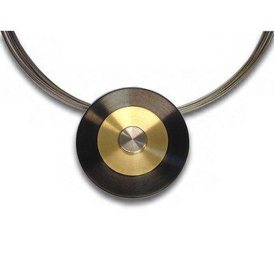 Collier-Disques-Noir/tricolore