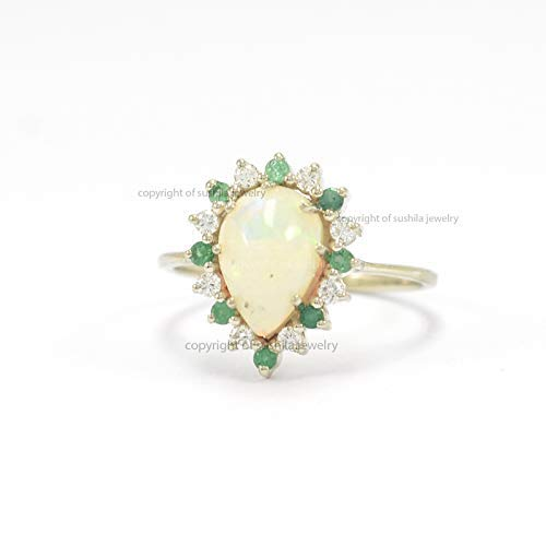 Genuine Opal & Emerald Cocktail Vintage Style Wedding Ring in 14k Gold Diamond Handmade Jewelry
