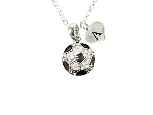 Custom Crystal Soccer Ball Silver Chain Necklace Choose Initial Charm All 26 -