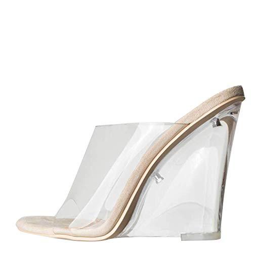 (Cape Robbin Women's Transparent Lucite Clear Wedge Heel PVC Open Toe Slip On Mules Lemonade (10, Clear Nude))
