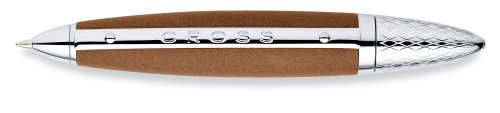 Cross Autocross Toffee Leather Wrapped Ball Point Pen with Chrome Appointments (Pen Pocket Cross Autocross)