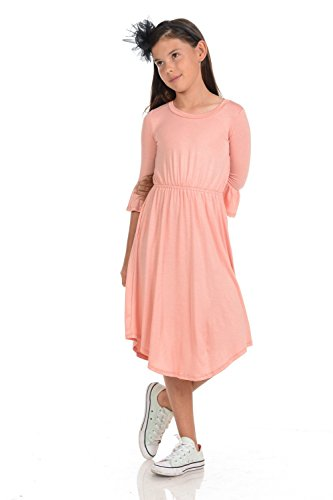 Honey Vanilla Girls' Fit Flare Midi Dress Bell Sleeve X-Large 11-12 Years Blush