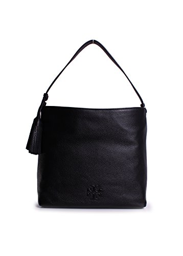 Leather Thea Burch Shoulder Black Hobo Tory Bag xn5UX088qw