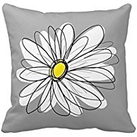 Trendy Daisy with gray and yellow Pillow Case Cushion Cover Home Sofa Decorative 20 X 20 Squares(Twin Sides)
