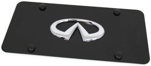 (Chrome Infiniti Emblem Logo Front License Plate Frame Black Stainless Steel)