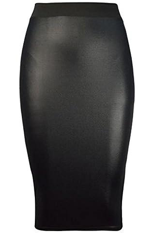 Forever Womens Celebrity Inspired High Waisted Wetlook Bodycon Pencil Skirt Black 6/8 (Zj Sm)