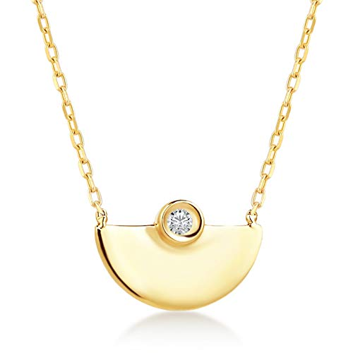 Gelin 14k Solid Gold Half Moon 0.01 ct Diamond Pendant Chain Necklace for Women 18 Inch