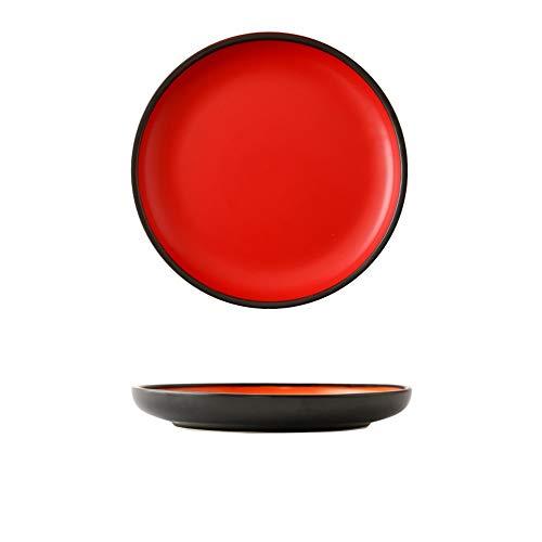 Creative Nordic Style Tableware Household Ceramic Plate Hotel Package Plate Steak Plate Red Black 9 Inch ()