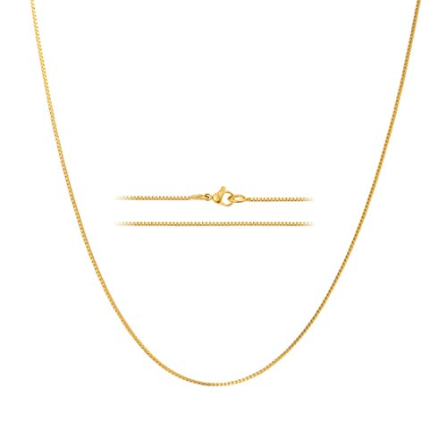 MAJU Designers 24K Gold Plated Stainless Steel Box Chain Necklace 1.2MM, 26