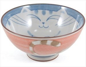 Smiling Pink Cat Porcelain Rice Bowl 4-1/2in #HR54/P by BigKitchen