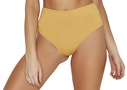 ToBeInStyle Women's Moderate Coverage High Waist Bottom - Honey - Medium ()