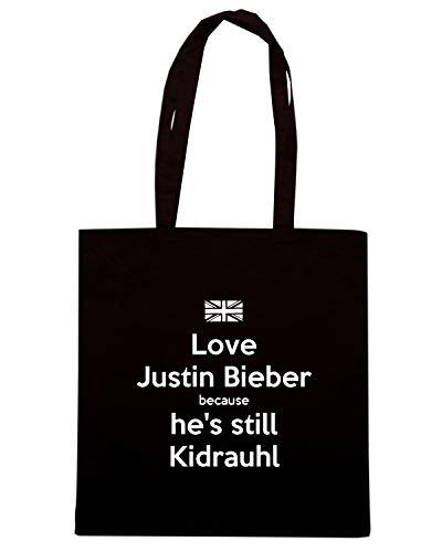 Borsa Shopper Nera TKC0447 LOVE JUSTIN BIEBER BECAUSE HE'S STILL KIDRAUHL