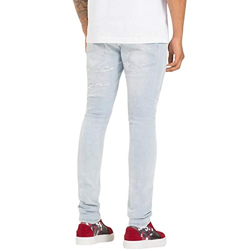 Hamilton Jeans Stretch Tommy Light Lewis Mw0mw08273911 Distressed X In Cotone Blue 34 Size EBqagwgY