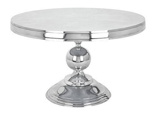 """Deco 79 30780 Small Traditional Style Metallic Silver Round Coffee Table, 30"""" x 19"""""""