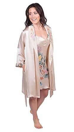 Womens Short Satin Robe Kimono Peacock Print 6 Colors