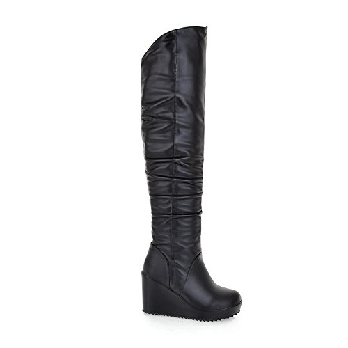 Boots Black WeiPoot Material Knee PU Round Solid Toe The Above Women's Soft Closed rqx7rgPfw
