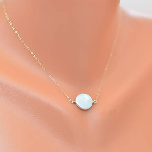 Freshwater Coin Pearl Pendant - Freshwater coin pearl necklace