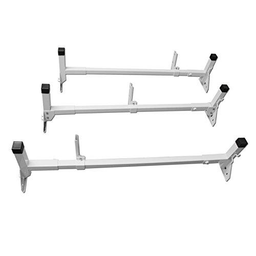 [AA-Racks Aluminum Fullsize Van Three Bar Rain Gutter Roof Racks With Adjustable Middle Bar] (Aluminum Van Ladder)