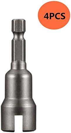 Abnaok ディープパワーウィングナットドライバー スロットウィングナット ドリルビットソケット レンチツールセット パネルナット ねじ アイCフックボルト 1/4インチ六角シャンク 4PCS