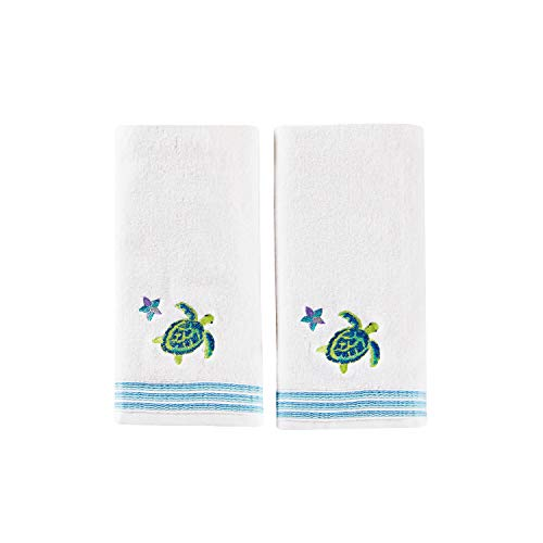 SKL Home by Saturday Knight Ltd. Watercolor Ocean 2-Piece Hand Towel Set, White (Ocean Theme Towel Set)