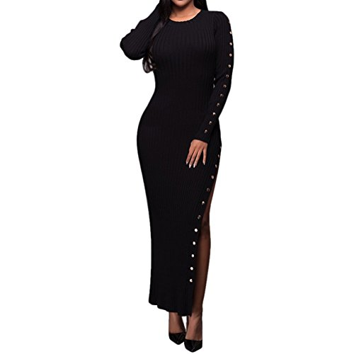 Women's Long Sleeve Side Split Ribbed Knitted Long Pullover Sweater Dress XL Black