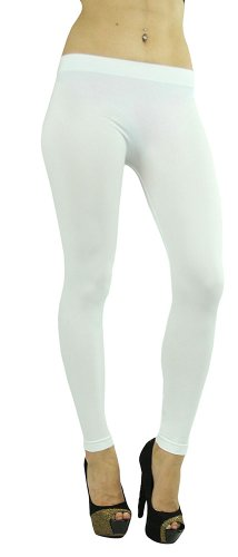 ToBeInStyle Women's Footless Elastic Legging - Ankle Length - 32' Inches - White