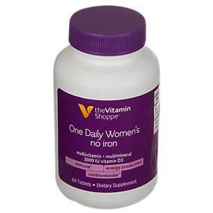 Cheap The Vitamin Shoppe One Daily Women's Multivitamin with No Iron, 2,000IU Vitamin D3, Multimineral Supplement, Supports Energy Production, Supports Cardiovascular and Immune Health (60 Tablets)