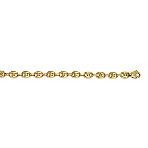 14k Yellow Gold 8.1mm Anchor Marine Solid Link Chain Necklace - (Marine Links 14k Gold Chain)