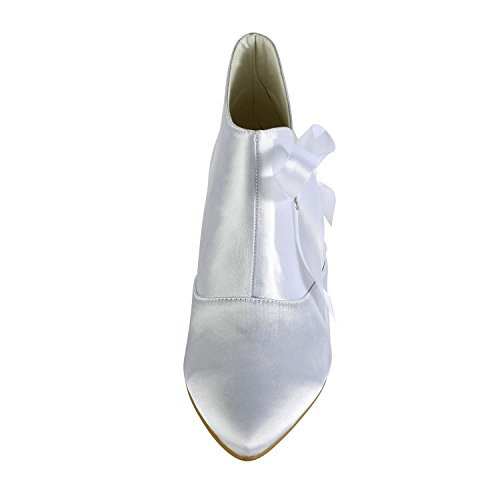 Women's Heel Satin Ankle Comfortable Bridal Minitoo Bootie Low TH12123 Ribbon White Wedding CwxFf5