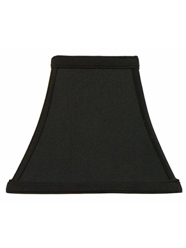 Upgradelights Square Bell 8 Inch Candle Stick Replacement Lamp Shade Black with Gold Lining (4x8x7)